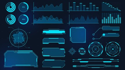 Cyberpunk graphs. Futuristic digital charts, bars, diagrams and frames for UI, HUD and GUI. Techno audio wave, border and button vector set