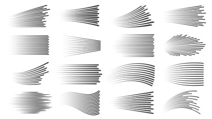 Fototapeta Speed lines effect. Fast motion manga or comic linear patterns. Horizontal and wavy car movement stripes or anime action dynamic vector set obraz
