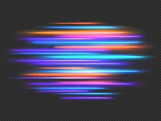 Speed lights effect. Neon fast movement dynamic horizontal lines. Futuristic race, night light motion blur. Speedy stripes vector background