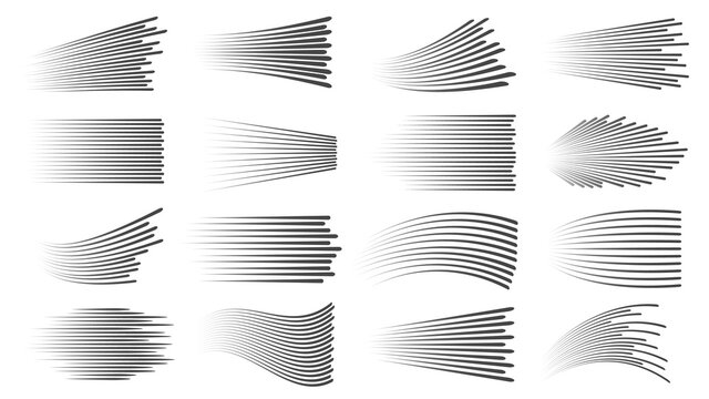 Speed lines effect. Fast motion manga or comic linear patterns. Horizontal and wavy car movement stripes or anime action dynamic vector set