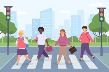 Kids crossing road. Group of student on street crosswalk with traffic light. Children cross pedestrian zebra on way to school vector concept