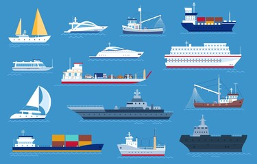 Obraz Sea boats. Fishing and cargo ships, yacht, shipping boat, cruise ocean liner, motorboat and military warship. Sailboat transport vector set - fototapety do salonu