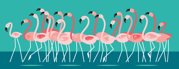 Fototapeta Pink beautiful Flamingo, flock of birds Cartoon vector illustration, horizontal banner.