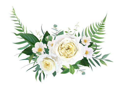 Elegant half wreath floral bouquet with yellow garden roses, white camellia flowers, greenery, green forest fern leaves, eucalyptus. Vector, editable, watercolor illustration. Wedding designer element