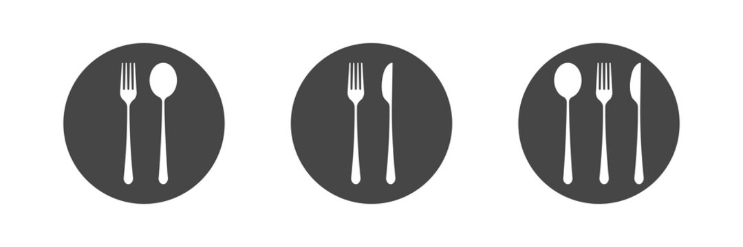 Dishes. Spoon, fork, knife and plates icons set, menu logo, cutlery silhouette. Vector illustration.