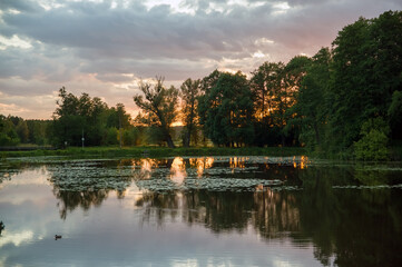 Krajobraz z jeziorem i roślinnością ciągnącymi się po horyzont na tle zachodzącego słońca