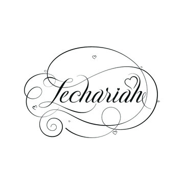 """English Calligraphy """"Zechariah"""" Name, a unique hand drawn vector design for Wedding and more."""