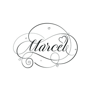 "English Calligraphy ""Marcel"" Name, a unique hand drawn vector design for Wedding and more."