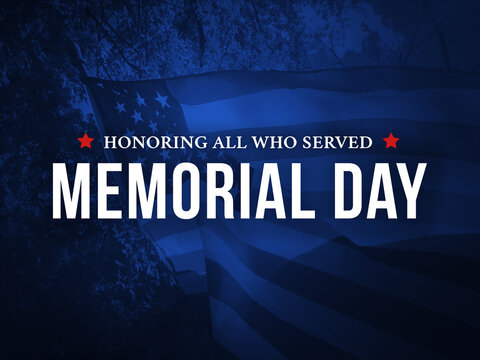Memorial Day - Honoring All Who Served Holiday Card with Waving American Flag Over Dark Blue Background Texture