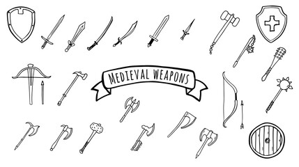 Fototapeta Medieval weapon set of swords, axes, hammers, shields in doodle style isolated