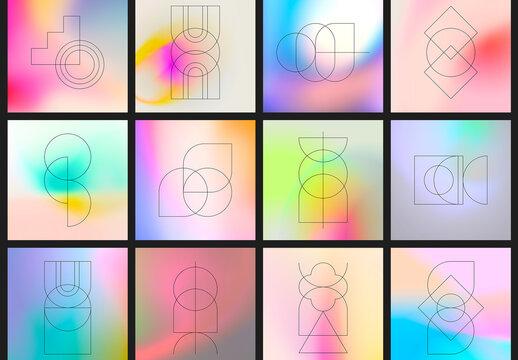 Gradient Texture Art Kit with Editable Geometric Elements