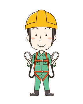 安全帯を付けてヘルメットを被った作業員男性