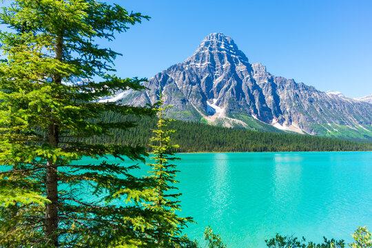 Beautiful glacier fed lake in Candadian Rockies