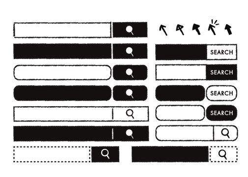 手描き風モノクロ検索バー