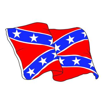 Vector Illustration of a waving Confederate flag