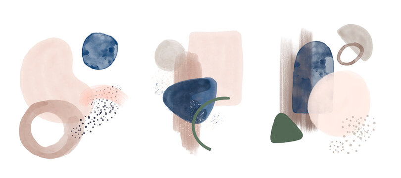 Abstract art set pink blue watercolor illustration Geometric