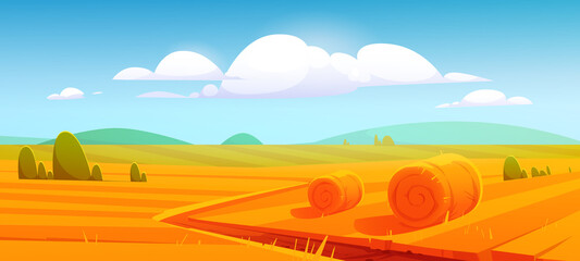 Rural landscape with hay bales on agriculture farm field. Vector cartoon illustration of countryside, farmland with round wheat straw rolls, yellow haystacks and barns