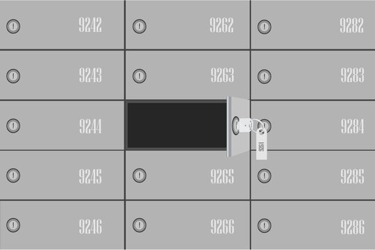 Vector illustration bank deposit boxes with one opened security box and key