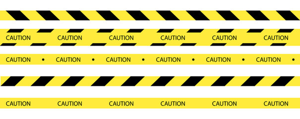 Fototapeta Vector set of seamless tapes. For restriction and dangerous zones. Yellow and black. obraz