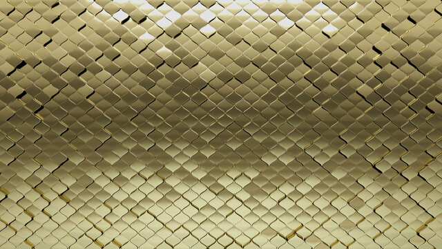 3D, Polished Wall background with tiles. Gold, tile Wallpaper with Arabesque, Luxurious blocks. 3D Render