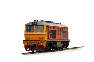 Diesel electric locomotive isolated on white background with clipping path.