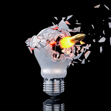 shattering light bulb hit by a bullet.