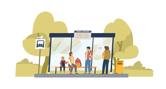 People waiting for bus at public transport stop in suburbs. Family with backpacks sitting on bench under station shelter on summer day. Colored flat graphic vector illustration isolated on white