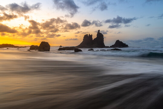Benijo beach at sunset, Tenerife island, Spain