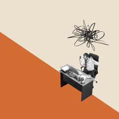 Modern design, contemporary art collage. Inspiration, idea, trendy urban magazine style. High angle...