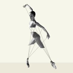 Modern design, contemporary art collage. Inspiration, idea, trendy urban magazine style. Ballet...