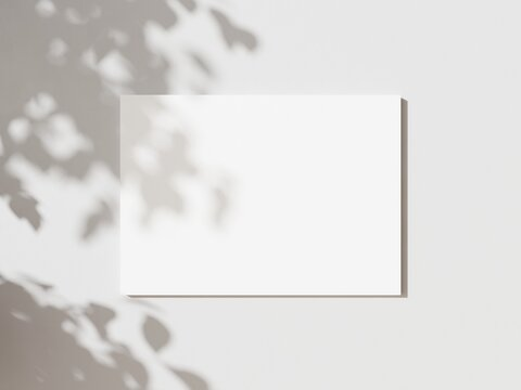 Empty white horizontal rectangle poster mockup with soft hawthorn leaves shadows on neutral light grey concrete wall background. Flat lay, top view 3D illustration