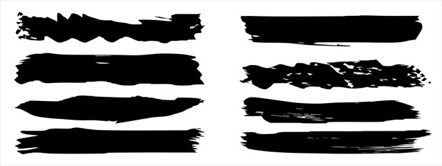 Fototapeta Vector collection of artistic grungy black paint hand made creative brush stroke set isolated on banner background. A group of abstract grunge sketches for design education or graphic art decoration