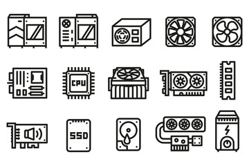 Obraz Computer hardware icon. Basic parts for performance system a computer in a case. - fototapety do salonu