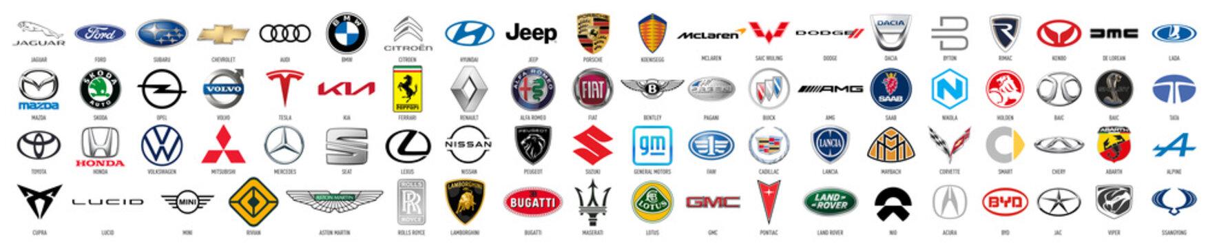 Car brands logos collection. VW, BMW, Audi, Mercedes, Lexus, Renault, Seat, Fiat, Citroen, Opel, Ferrari, Jaguar, Kia, Ford, Toyota, Honda and more, vector icons set