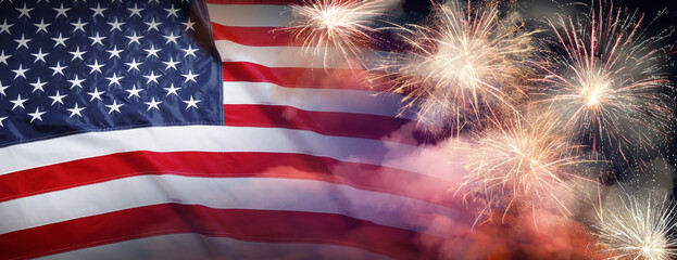 Fototapeta American flag and fireworks, banner design. Independence Day of USA obraz