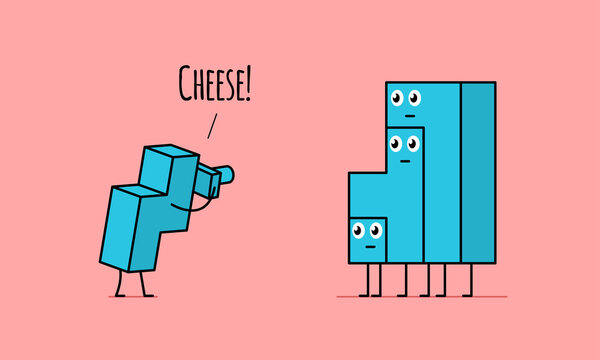 Kawaii tetris brick photographer taking photo of family and asking them say Cheese.
