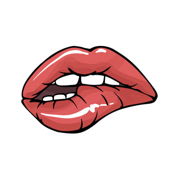 Sexy lips, teeth biting lips facial expression , modern illustration  in vector