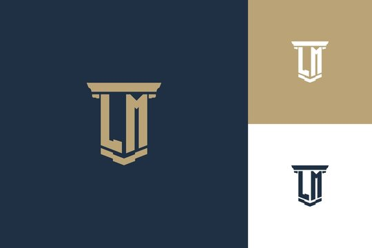 LM monogram initials logo design with pillar icon. Attorney law logo design