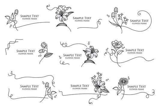 手描きの花と線画のフレームのベクターイラストセット