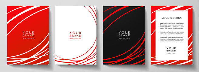Obraz Modern red cover, frame design set. Abstract radial line pattern (curves). Creative stripe vector collection for business background page, brochure template, booklet, vertical certificate - fototapety do salonu