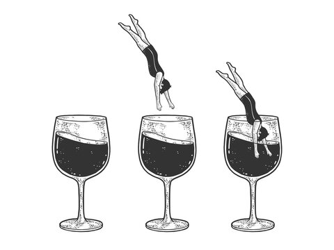 man dives into a glass of wine set sketch engraving vector illustration. T-shirt apparel print design. Scratch board imitation. Black and white hand drawn image.