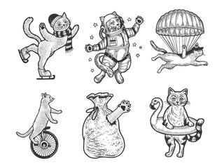 Cat set sketch engraving vector illustration. T-shirt apparel print design. Scratch board imitation. Black and white hand drawn image.