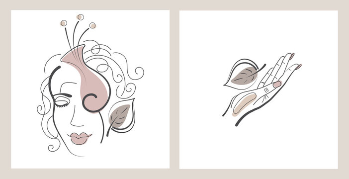 Set of a woman's face with a flower and a hand with a leaf. Drawn with a line. Vector illustration on an isolated white background.