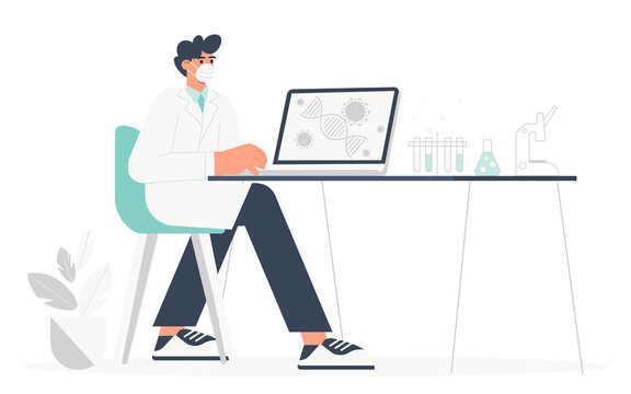 Development of a vaccine against coronavirus. A male scientist sits at a table in the laboratory and analyzes the results of research on vaccination against covid-19. Flat vector illustration