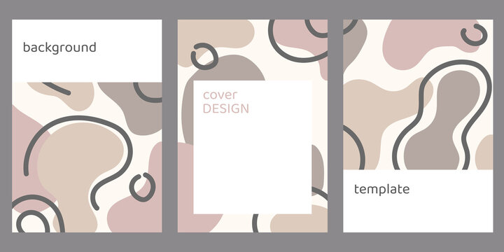 A set of background templates with abstract shapes in pastel colors. Flat vector illustration for media, social networks, covers and postcards