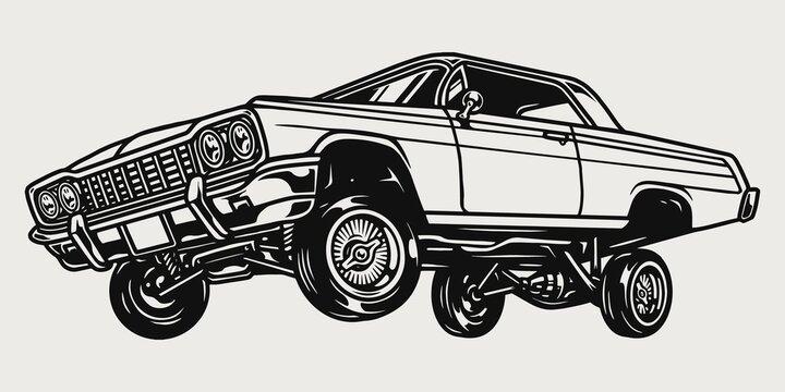 Custom lowrider retro car vintage concept