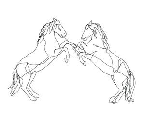Fototapeta steigende Pferde
