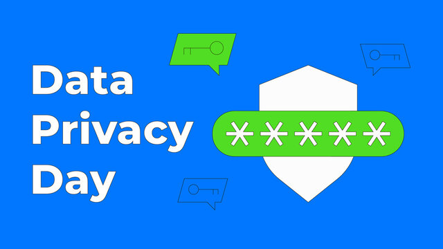 Data Privacy day vector illustration. January 28 celebration. Shield with password field and key in speech bubble. Data protection concept. Flat thin line style.