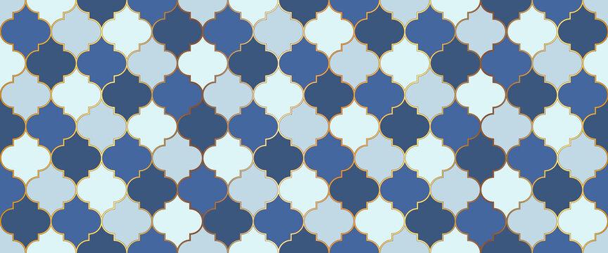 Moroccan Seamless Ornament Traditional Ramadan Golden Mosque Grid. Ramadan