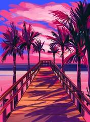 Tropical beach. Seascape, ocean landscape. Hand drawn illustration. Pencil drawing background